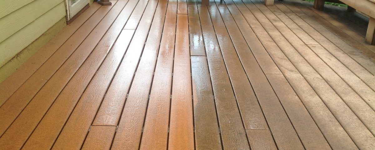 pressure washing a deck