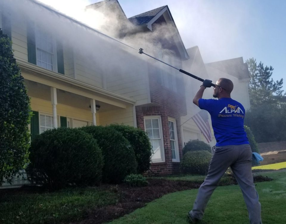pressure washing a home